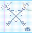 heart with arrow line sketch icon isolated on vector image vector image