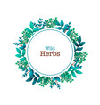 herbal pre-made composition round wreath with vector image