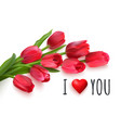 horizontal valentines day card with red tulips vector image