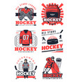 ice hockey items and professional players icons vector image vector image