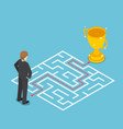 isometric businessman looking at maze with vector image vector image