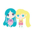 kids cute little girls anime cartoon characters vector image
