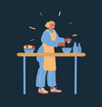 lady cooking at her kitchen vector image vector image