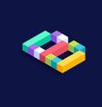 letter b isometric colorful cubes 3d design