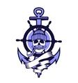 Marine emblem skull vector image vector image