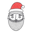merry christmas hand drawn style with santa claus vector image