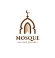 minimalist mosque building logo vector image vector image