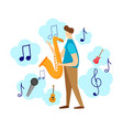 modern male character playing jazz saxophone vector image