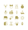 monochrome new year icons collection vector image vector image