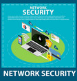 network security isometric icon concept banner vector image vector image