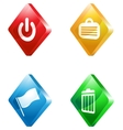 office glass transparent color icon set vector image