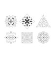 ornamental graphic flowers geometric shapes set vector image vector image