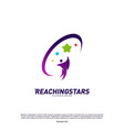 reaching stars logo design concept child dream vector image