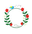 red flower circle with blue bird singing and music vector image vector image