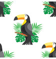 seamless pattern with leafs and toucan vector image vector image