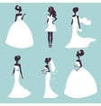 Set of elegant brides in silhouette vector image vector image