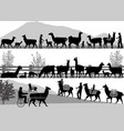 silhouettes llamas and its cubs outdoors vector image vector image