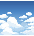 sky with fluffy clouds clean blue panorama of vector image