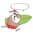 Surfing santa cartoon vector image vector image