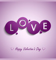 Valentines card with purple circles background vector image