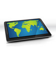 world map on tablet pc vector image