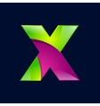 X letter green and pink logo design template vector image
