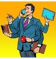 Business successful businessman multitasking vector image