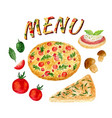 watercolor collection of pizza set isolated vector image