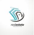 real estates business creative logo design concept vector image