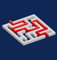 3d maze with red path on blue background vector image