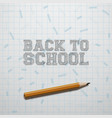back to school text and realistic pencil vector image vector image