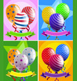 balloons and banners in four designs vector image