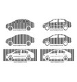 barcode car set design elements of car market vector image vector image