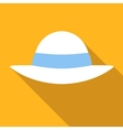 Beach hat colored flat icon vector image