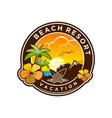 beach vacation resort outdoor recreation trip vector image vector image