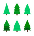 christmas tree a set of six green christmas trees vector image