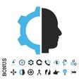 Cyborg Gear Flat Icon With Bonus vector image