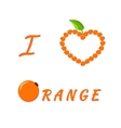 Design for a card I Love Orange vector image vector image