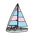 doodle sailing boat style transport sea vector image vector image