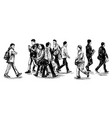 drawing people are walking on street in jap vector image vector image