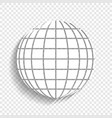 earth globe sign white icon with soft vector image