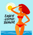 enjoy every moment banner travel beach vector image vector image