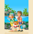family trip with parents and kid on the beach vector image vector image