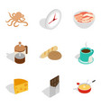 fish food icons set isometric style vector image vector image