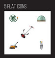 flat icon garden set of hothouse lawn mower vector image vector image