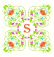 Floral monogram with letter s on white Green vector image vector image