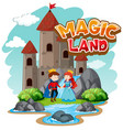 font design for word magic land with prince and vector image vector image