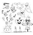 Halloween doodle set candy scarecrow pumpkins vector image vector image