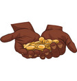 hand holding gold coins vector image vector image