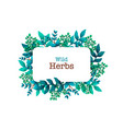 herbal pre-made composition horizontal frame with vector image